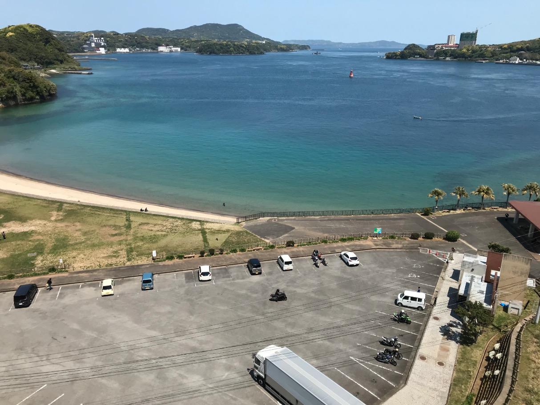 平戸大橋から見た平戸公園第二駐車場