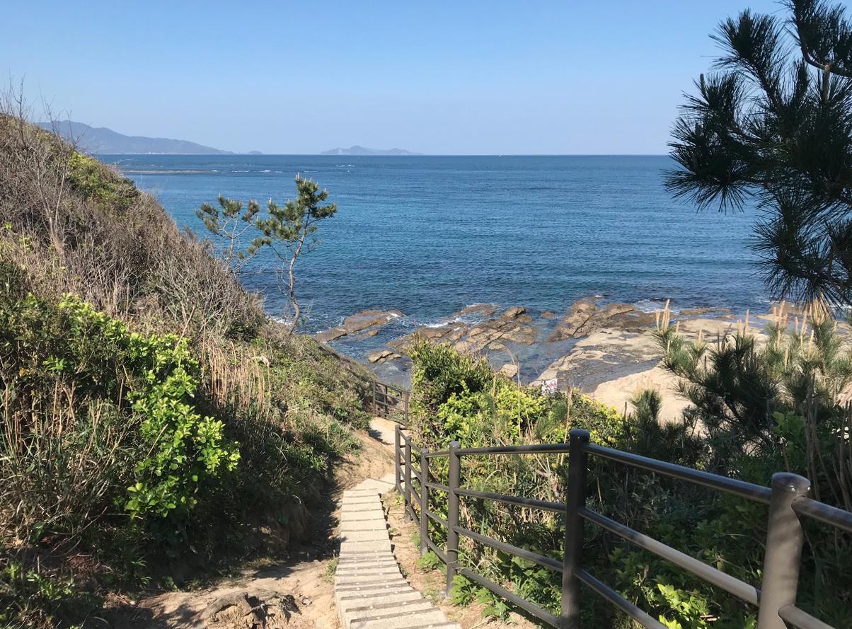 夏井ヶ浜はまゆう公園の展望台から海へ続く階段