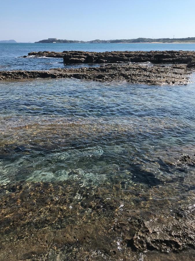 夏井ヶ浜はまゆう公園の透明な海