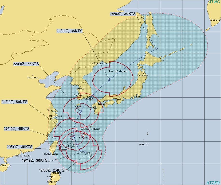 台風17号ターファー進路予想(米軍)