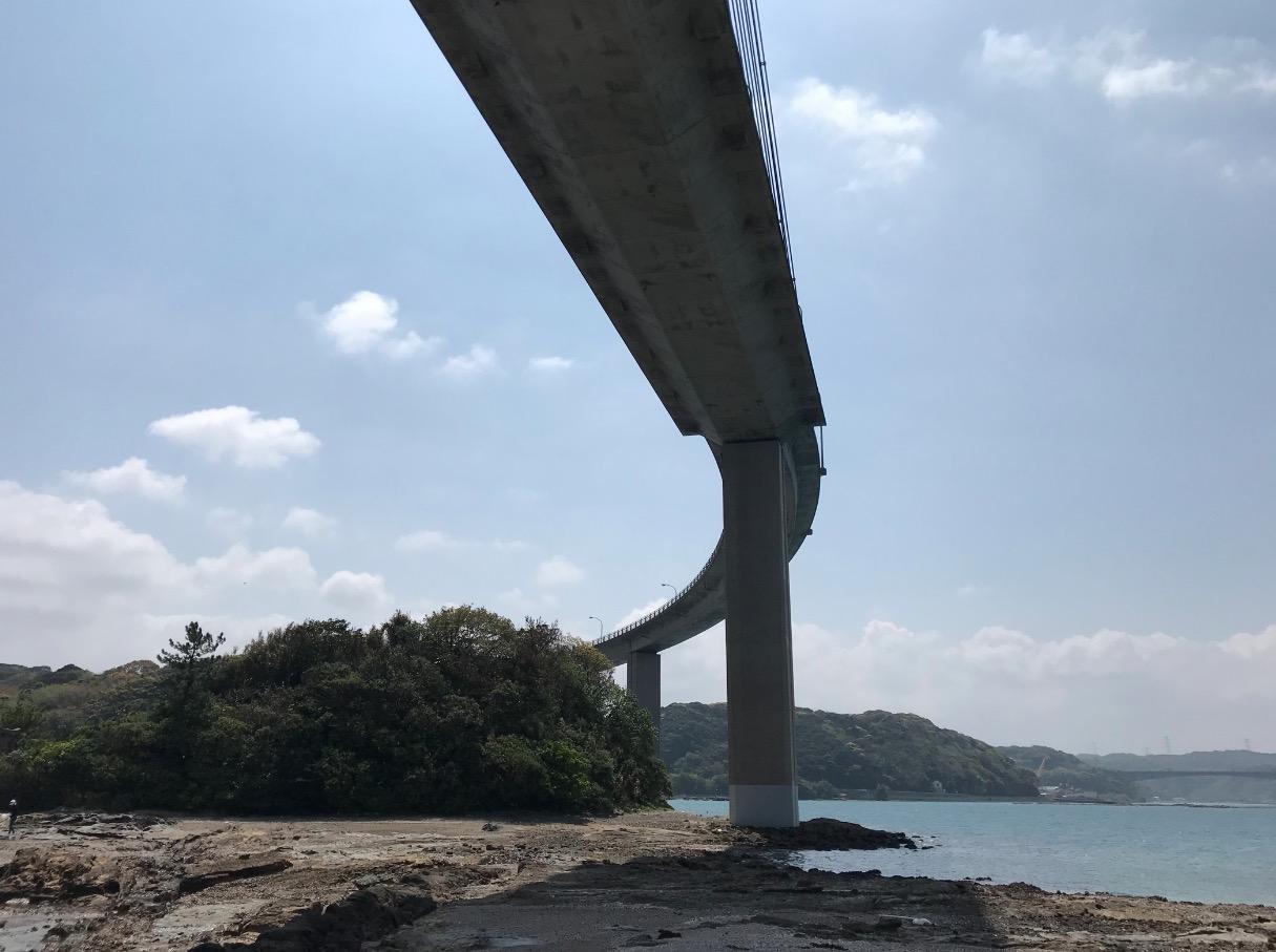 弁天遊歩橋から見上げる呼子大橋