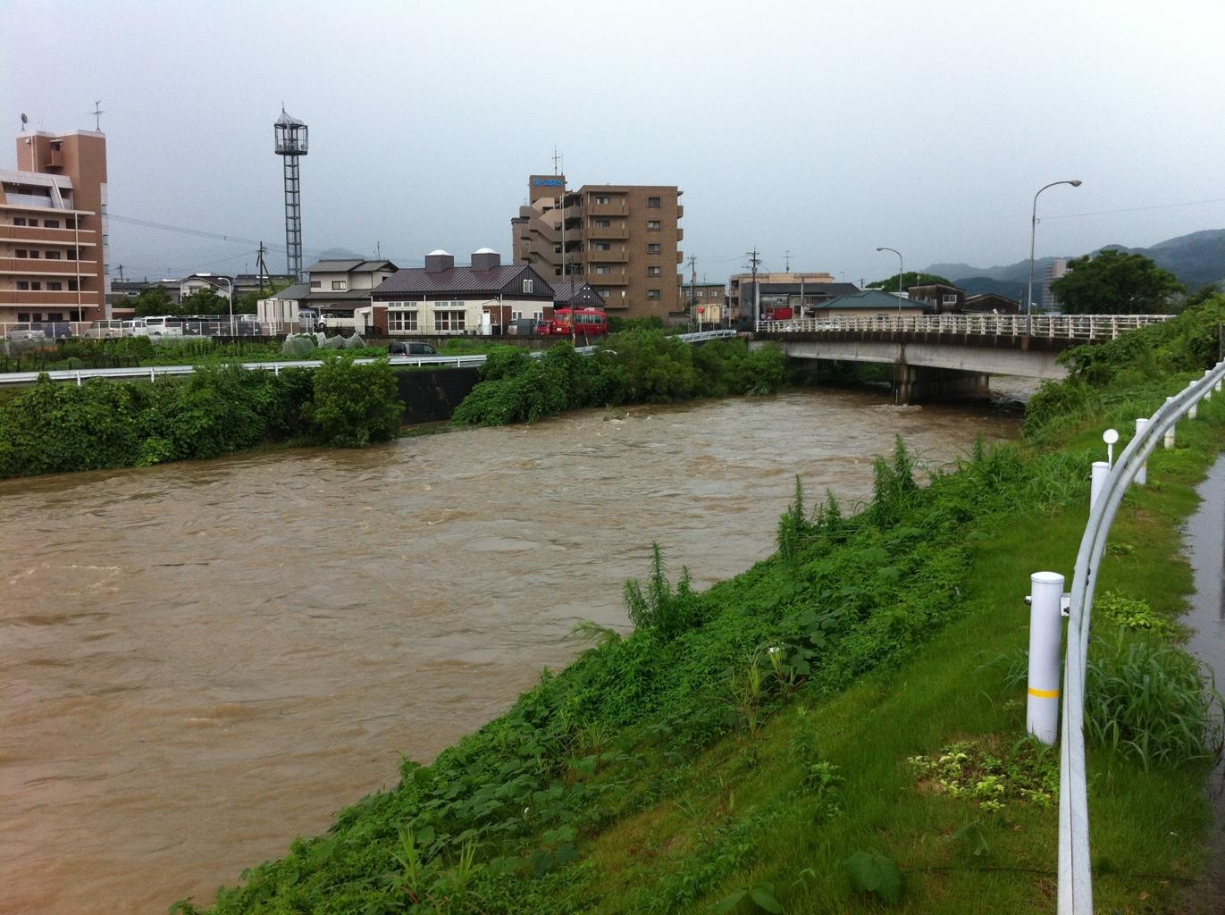 増水した那珂川