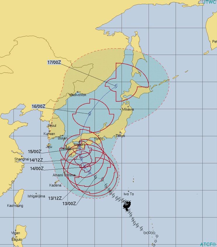 台風10号クローサ進路予想