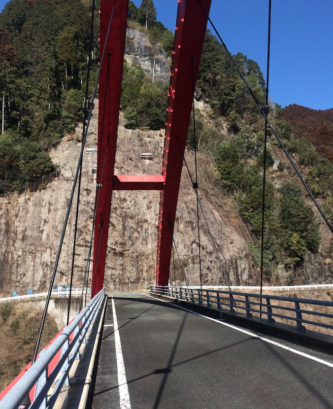 日向神峡の赤い橋(けほぎ橋)