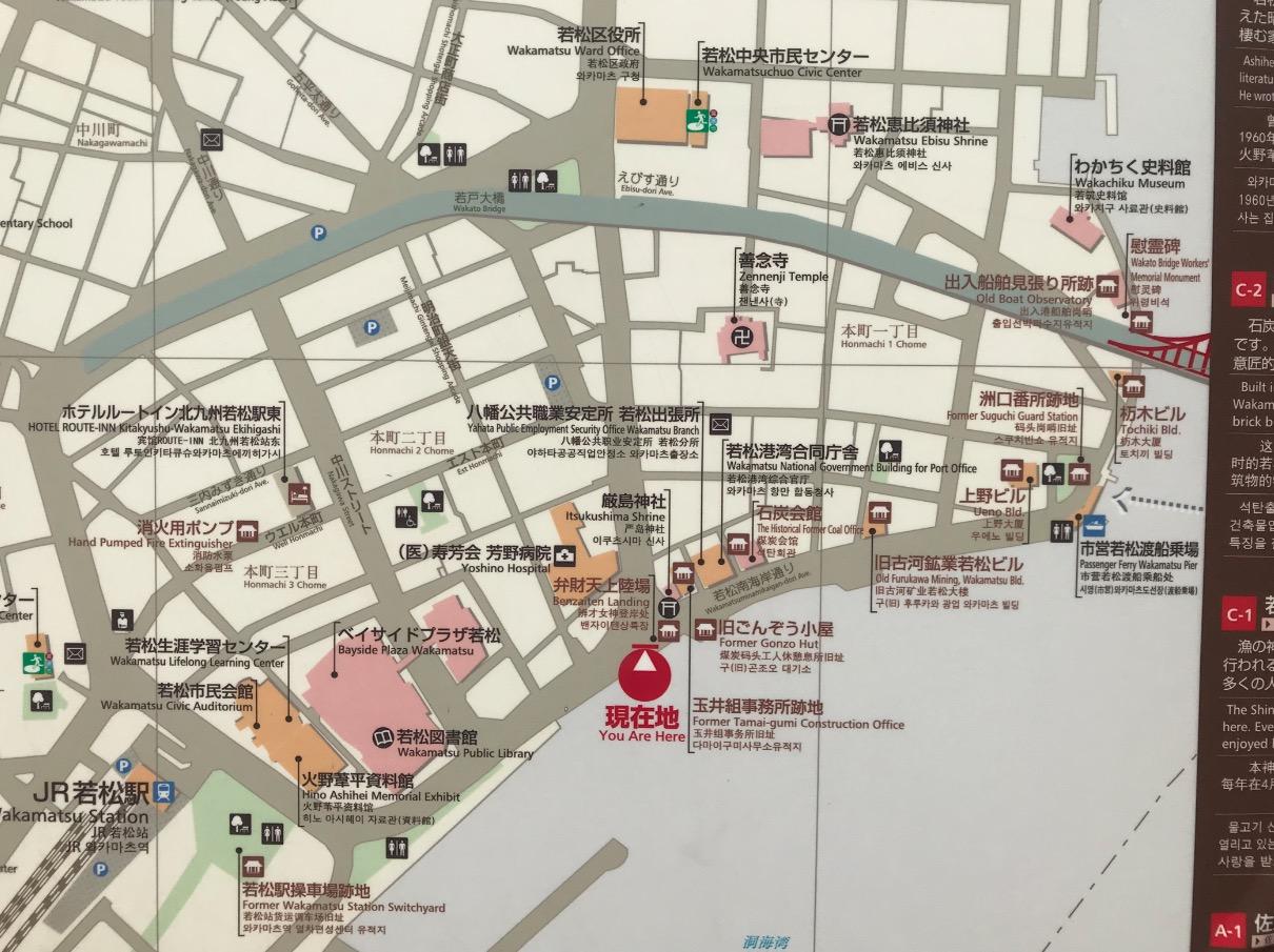 若松区レトロ建築群の周辺図