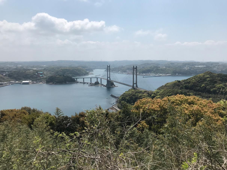 呼子大橋を風の見える丘公園から見る